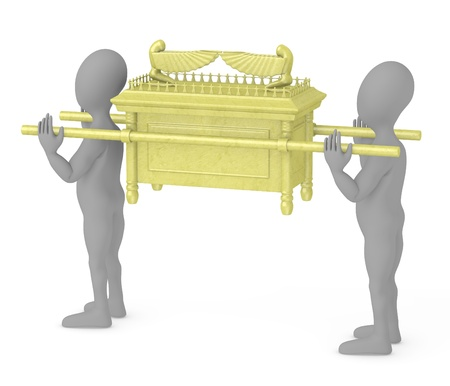 3d render of cartoon characters with ark of the covenant photo
