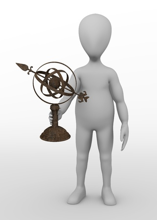 astronomical: 3d render of cartoon character with astronomical tool