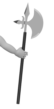 3d render of cartoon character with axe Stock Photo - 13714306