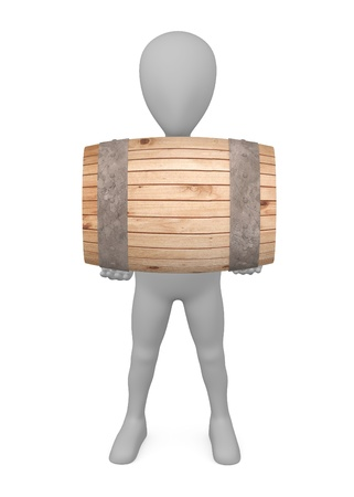 stockie: 3d render of cartoon character with wooden barrel Stock Photo