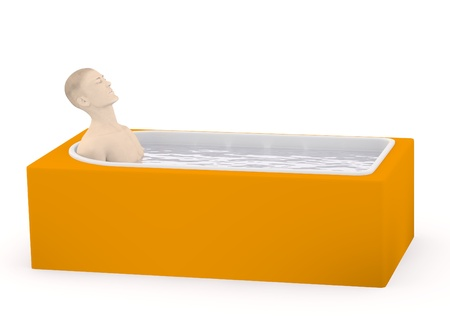 artifical: 3d render of artifical male ib bath Stock Photo