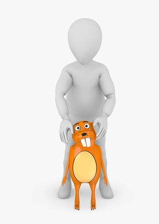 stockie: 3d render of cartoon character with beaver