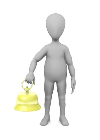 3d render of cartoon character with bell Stock Photo - 13718378