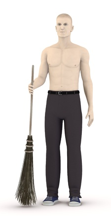 besom: 3d render of artifical male with besom