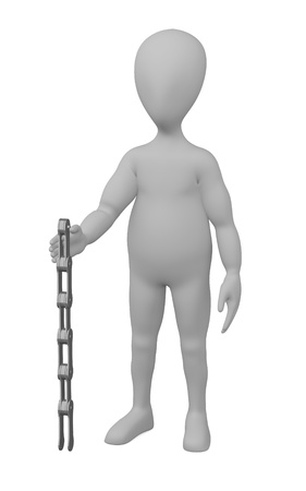 stockie: 3d render of cartoon character with bike chain Stock Photo