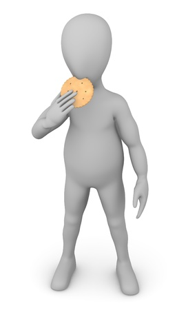 stockie: 3d render of cartoon character with biscuit