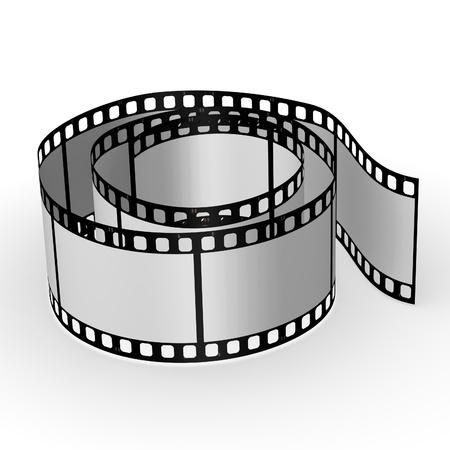 16mm: 3d render of blank film Stock Photo