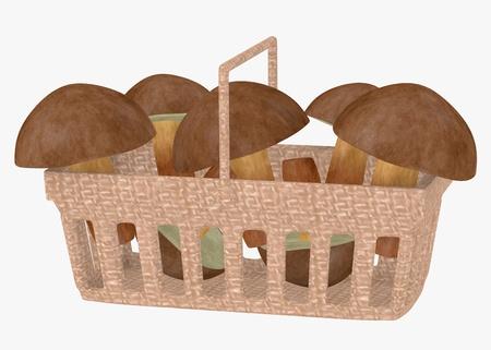 3d render of mushrooms in basket photo