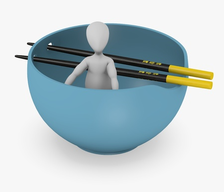 3d render of cartoon character with bowl and chopsticks photo