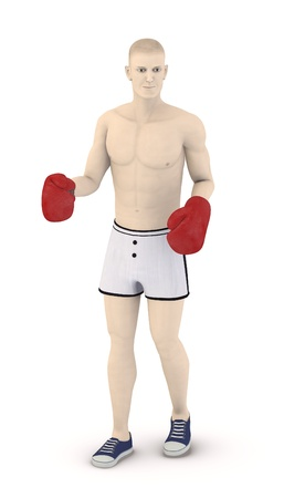 artifical: 3d render of artifical male boxing Stock Photo