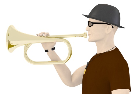 artifical: 3d render of artifical male with trumpet Stock Photo
