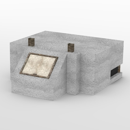 fortification: 3d render of military bunker
