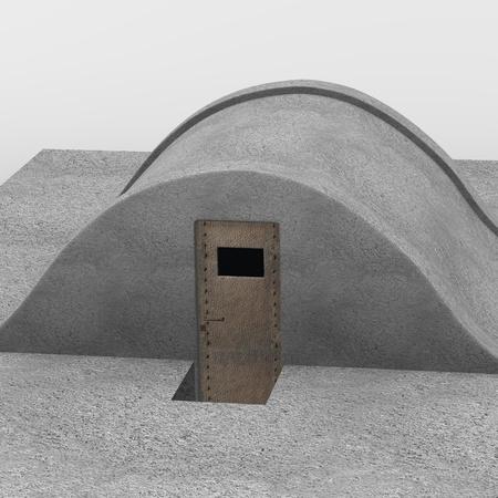 hideout: 3d render of military bunker
