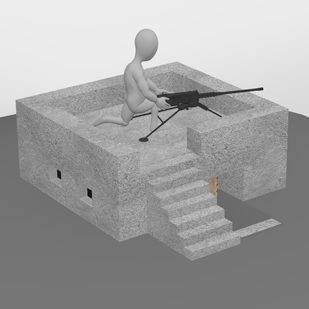 3d render of cartoon character with bunker photo