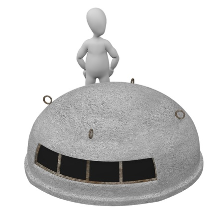 hideout: 3d render of cartoon character with bunker Stock Photo