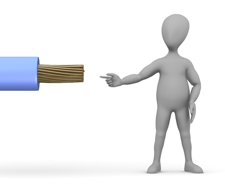stockie: 3d render of cartoon character with cable Stock Photo