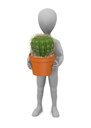 3d render of cartoon character with cactus Stock Photo - 13726947