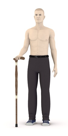 artificial leg: 3d render of artifical male with cane