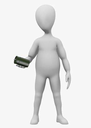 capacitor: 3d render of cartoon character with capacitor