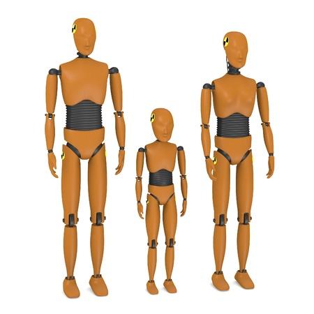 Rendu 3D de mannequins d'essai de voitures Banque d'images
