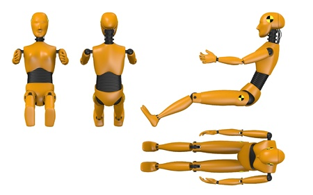 3d render of car test dummy - woman photo
