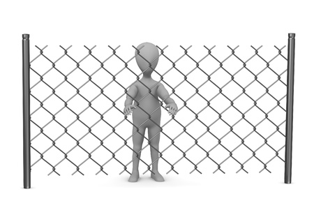 3d render of cartoon character with chain fence Stock Photo - 13729366