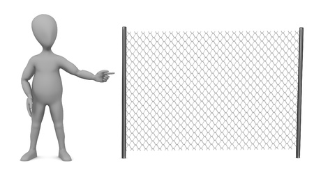 3d render of cartoon character with chain fence photo