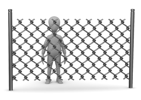 3d render of cartoon character with chain fence Stock Photo - 13729719