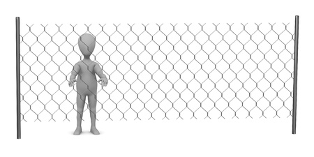 3d render of cartoon character with chain fence Stock Photo - 13729265