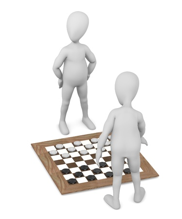 stockie: 3d render of cartoon character playing checkers