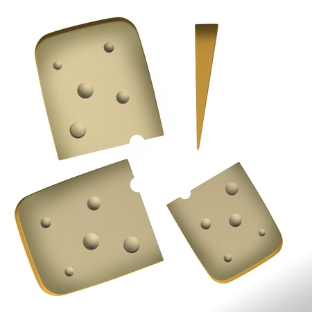goat cheese: 3d render of cheese piece Stock Photo