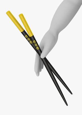 chop sticks: 3d render of cartoon character with chopsticks