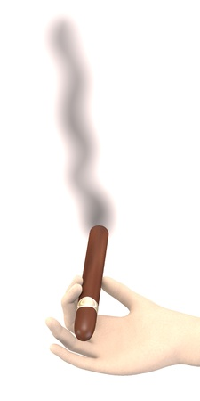 tabacco: 3d render of hand with cigar