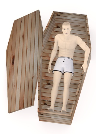 3d render of artificial character in coffin