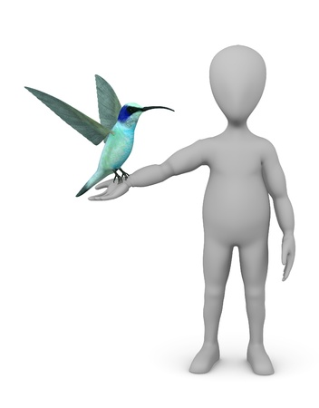 stockie: 3d render of cartoon character with colibri