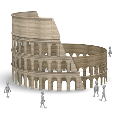 arena: 3d render of cartoon character with coloseum arena