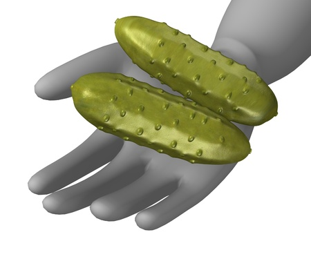 gherkin: 3d render of cartoon character with small cucumber Stock Photo