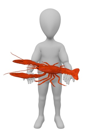 3d render of cartoon character with dead crayfish photo