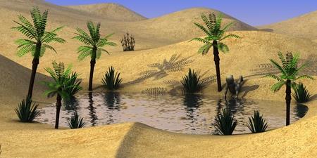wasteland: 3d render of cartoon character on sand desert