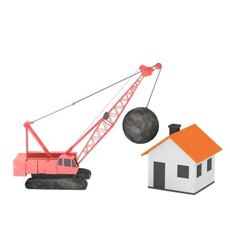 destruct: 3d render of destruction crane Stock Photo