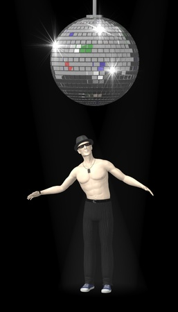 discoball: 3d render of artificial character under discoball