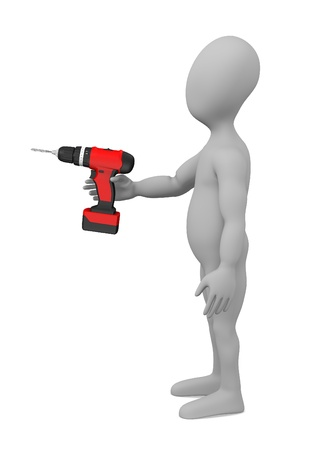 3d render of cartoon character with drill machine photo