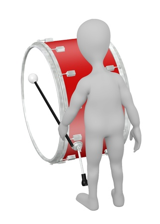 snare: 3d render of cartoon character with drum Stock Photo