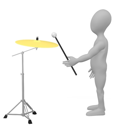 cymbal: 3d render of cartoon character with cymbal