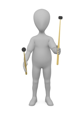stockie: 3d render of cartoon character with drum sticks