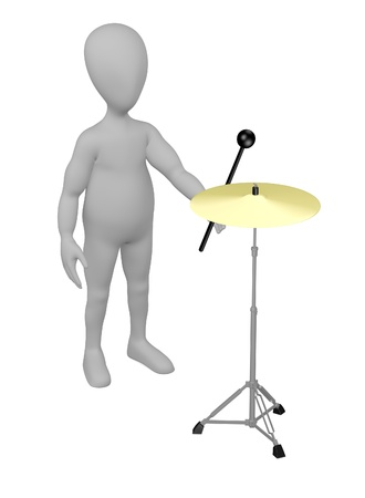 stockie: 3d render of cartoon character with cymbal