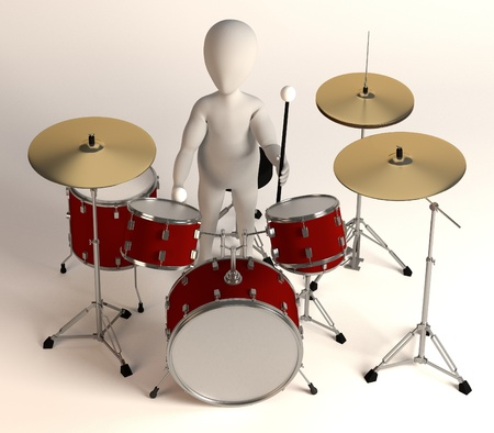 drumset: 3d render of cartoon character with drumset