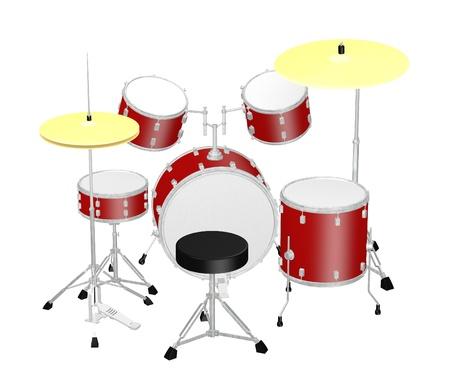 drum set: 3d render of drum set