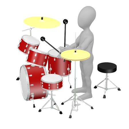 stockie: 3d render of cartoon character with drumset