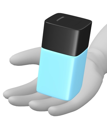 eau de toilette: 3d render of cartoon character with small flask